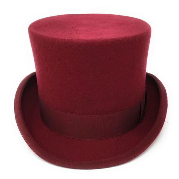 Maroon Red Traditional Top Hat 5¼